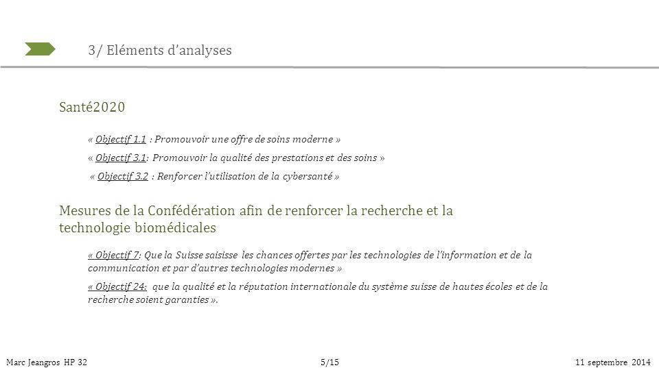 3/ Eléments d'analyses Marc Jeangros HP 3211 septembre 20145/15 Santé2020 « Objectif 1.1 : Promouvoir une offre de soins moderne » « Objectif 3.1: Pro