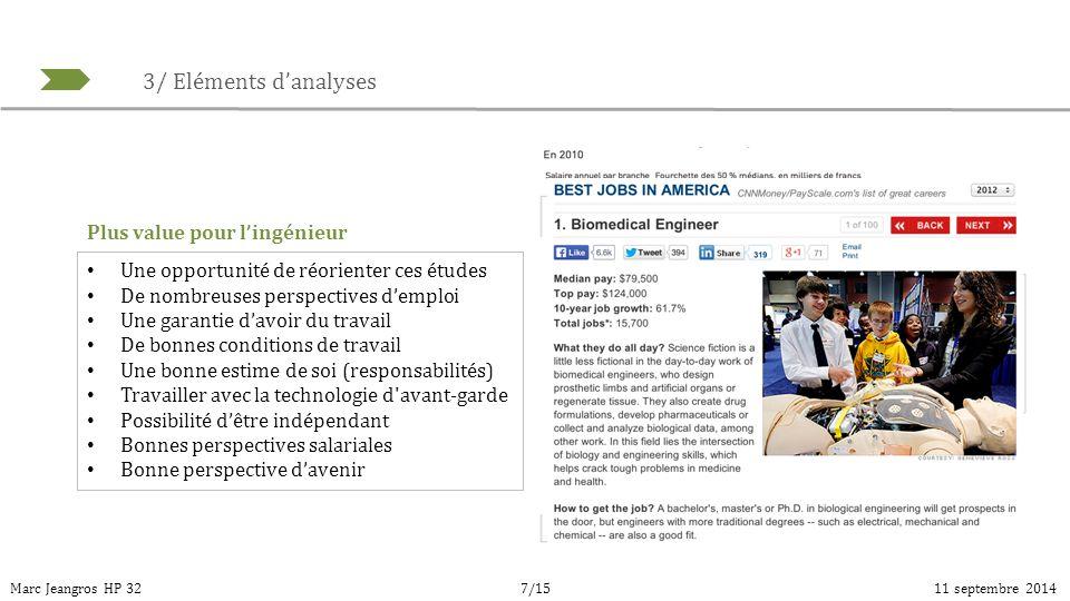 3/ Eléments d'analyses Marc Jeangros HP 3211 septembre 20147/15 Une opportunité de réorienter ces études De nombreuses perspectives d'emploi Une garan
