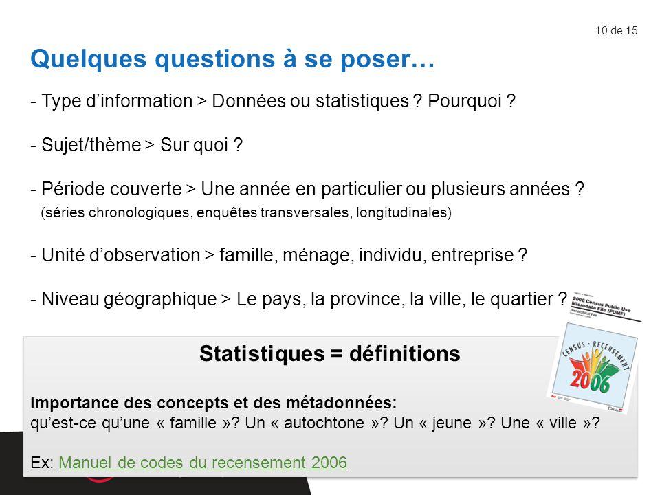 - Type d'information > Données ou statistiques . Pourquoi .