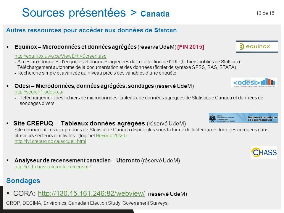 Autres ressources pour accéder aux données de Statcan  Equinox – Microdonnées et données agrégées (réservé UdeM) [FIN 2015] http://equinox.uwo.ca/ViewEntryScreen.asp - Accès aux données d'enquêtes et données agrégées de la collection de l'IDD (fichiers publics de StatCan).