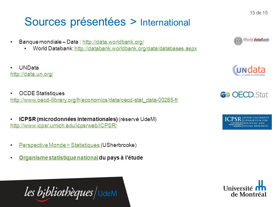 Sources présentées > International 15 de 15 Banque mondiale – Data : http://data.worldbank.org/http://data.worldbank.org/ World Databank: http://databank.worldbank.org/data/databases.aspxhttp://databank.worldbank.org/data/databases.aspx UNData http://data.un.org/ OCDE Statistiques http://www.oecd-ilibrary.org/fr/economics/data/oecd-stat_data-00285-fr ICPSR (microdonnées internationales) (réservé UdeM) http://www.icpsr.umich.edu/icpsrweb/ICPSR/ Perspective Monde > Statistiques (USherbrooke)Perspective Monde > Statistiques Organisme statistique national du pays à l'étudeOrganisme statistique national