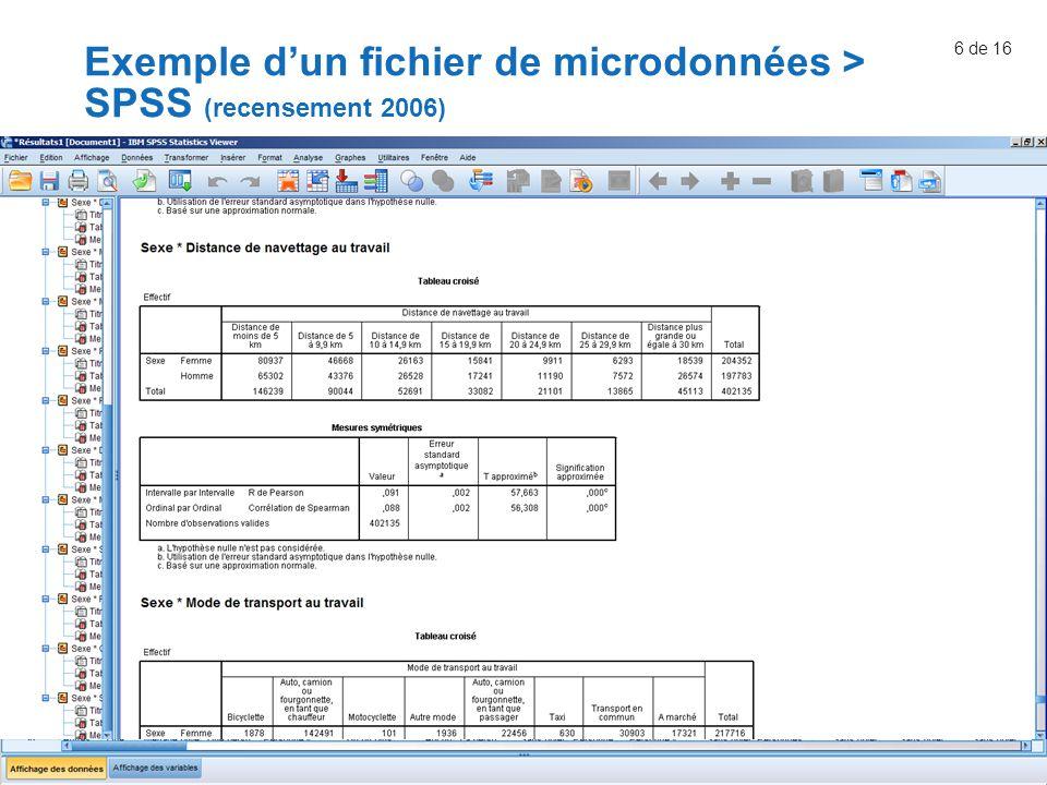 6 de 16 Exemple d'un fichier de microdonnées > SPSS (recensement 2006)