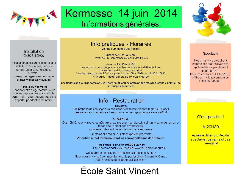 DVD Le spectacle des enfants sera filmé DVD Prix15 € Pré-vente sur le bulletin réponse et le jour de la kermesse à la caisse !!! Installation 9h30 à 1