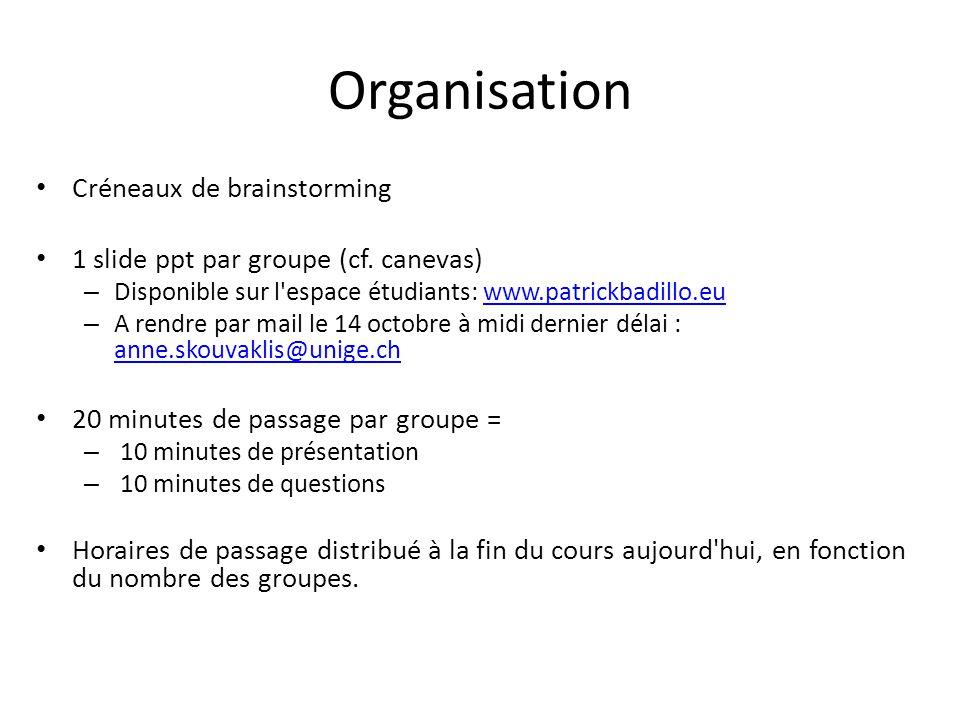 Organisation Créneaux de brainstorming 1 slide ppt par groupe (cf.