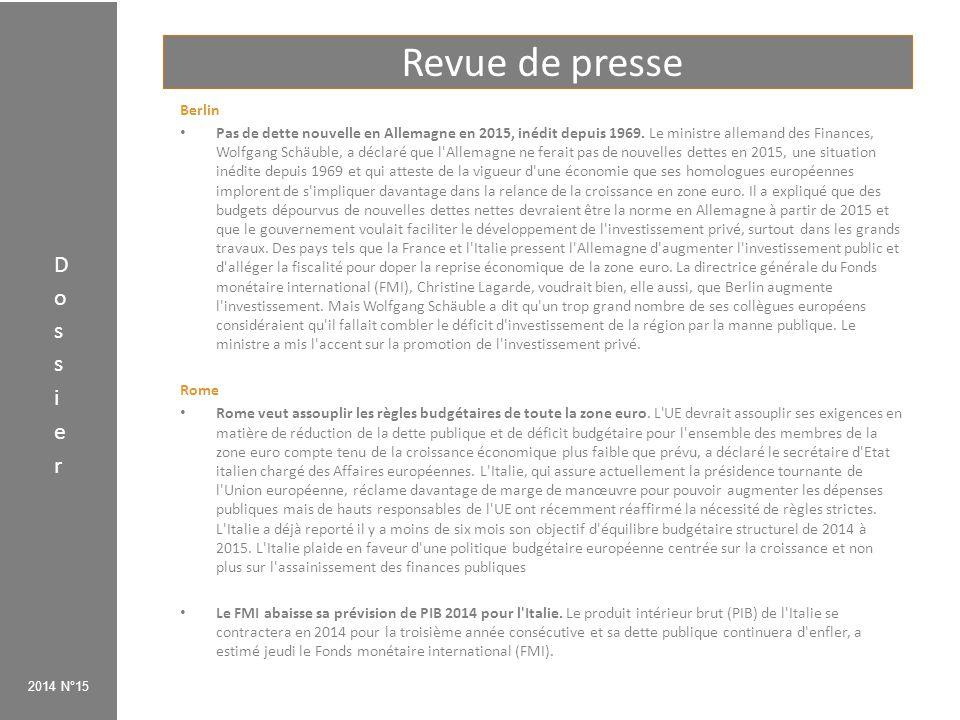 Revue de presse 2014 N°15 Paris La France épinglée par la Commission européenne.