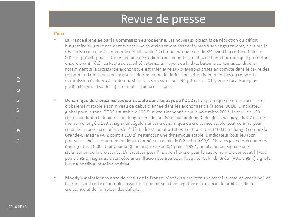 Revue de presse 2014 N°15 Paris La France épinglée par la Commission européenne. Les nouveaux objectifs de réduction du déficit budgétaire du gouverne