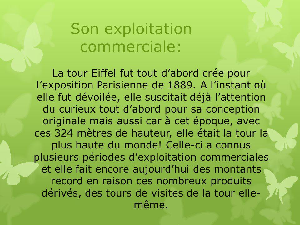 La tour Eiffel fut tout d'abord crée pour l'exposition Parisienne de 1889. A l'instant où elle fut dévoilée, elle suscitait déjà l'attention du curieu