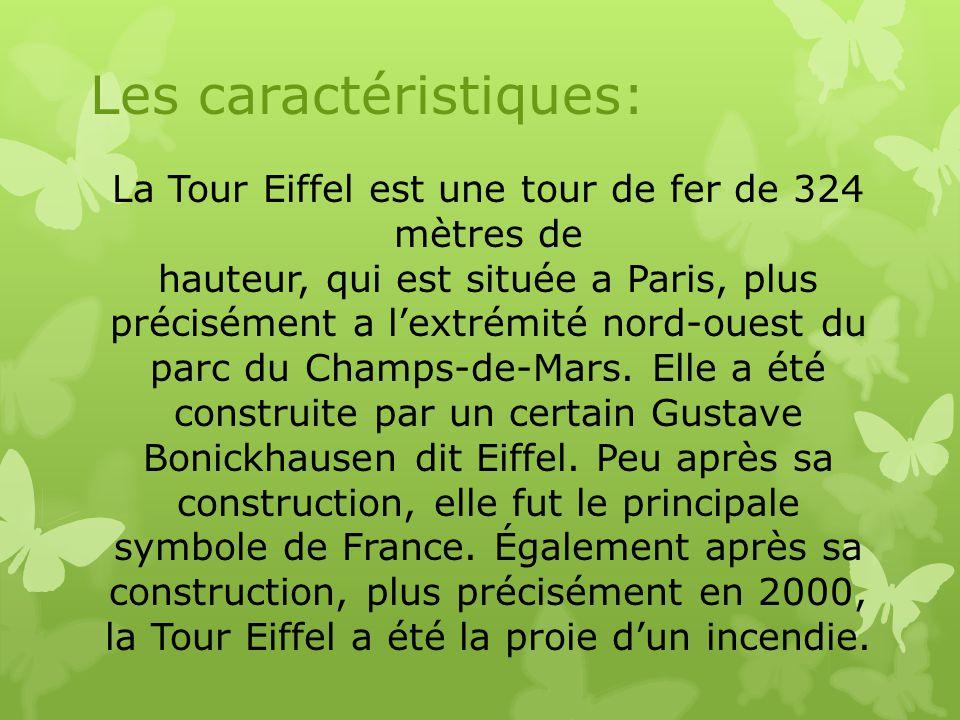 La Tour Eiffel est une tour de fer de 324 mètres de hauteur, qui est située a Paris, plus précisément a l'extrémité nord-ouest du parc du Champs-de-Ma