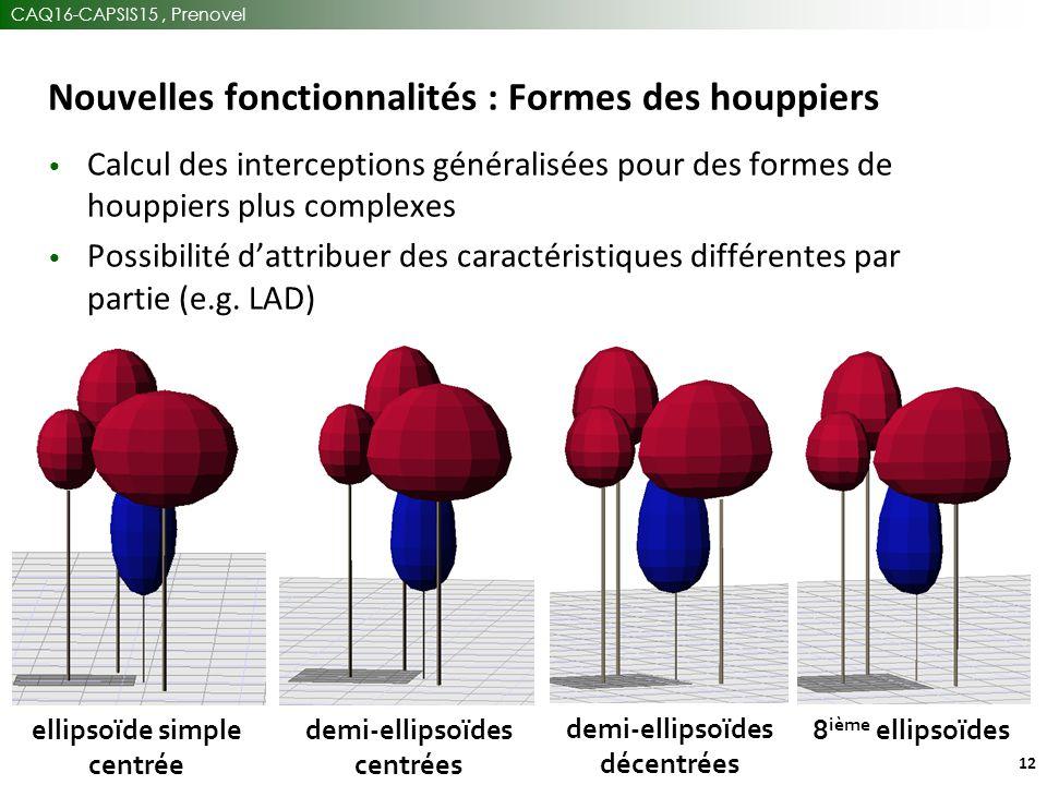 CAQ16-CAPSIS15, Prenovel 12 Nouvelles fonctionnalités : Formes des houppiers 8 ième ellipsoïdes demi-ellipsoïdes décentrées demi-ellipsoïdes centrées ellipsoïde simple centrée Calcul des interceptions généralisées pour des formes de houppiers plus complexes Possibilité d'attribuer des caractéristiques différentes par partie (e.g.