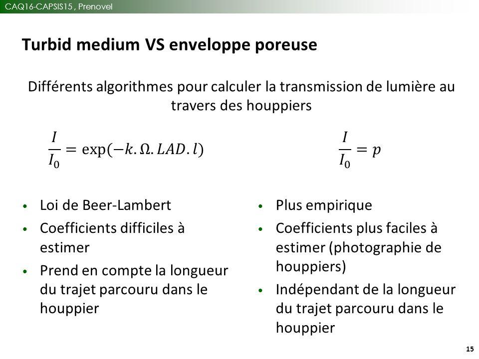 CAQ16-CAPSIS15, Prenovel 15 Turbid medium VS enveloppe poreuse Différents algorithmes pour calculer la transmission de lumière au travers des houppiers