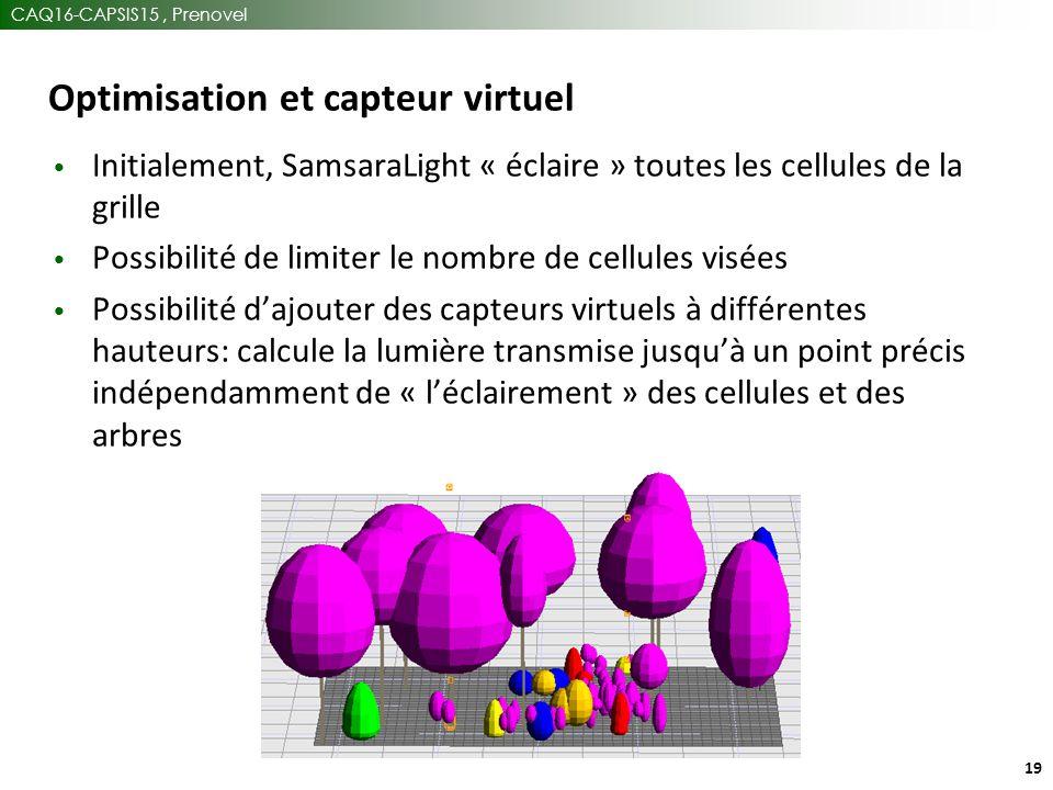 CAQ16-CAPSIS15, Prenovel 19 Optimisation et capteur virtuel Initialement, SamsaraLight « éclaire » toutes les cellules de la grille Possibilité de limiter le nombre de cellules visées Possibilité d'ajouter des capteurs virtuels à différentes hauteurs: calcule la lumière transmise jusqu'à un point précis indépendamment de « l'éclairement » des cellules et des arbres
