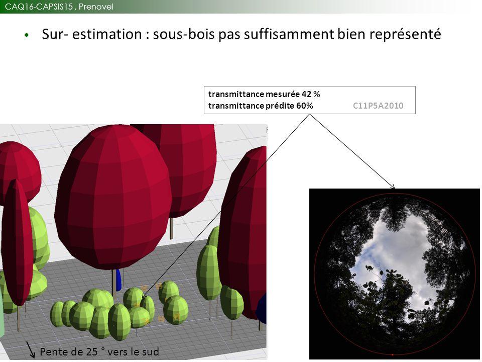 CAQ16-CAPSIS15, Prenovel 32 Sur- estimation : sous-bois pas suffisamment bien représenté Pente de 25 ° vers le sud transmittance mesurée 42 % transmittance prédite 60% C11P5A2010