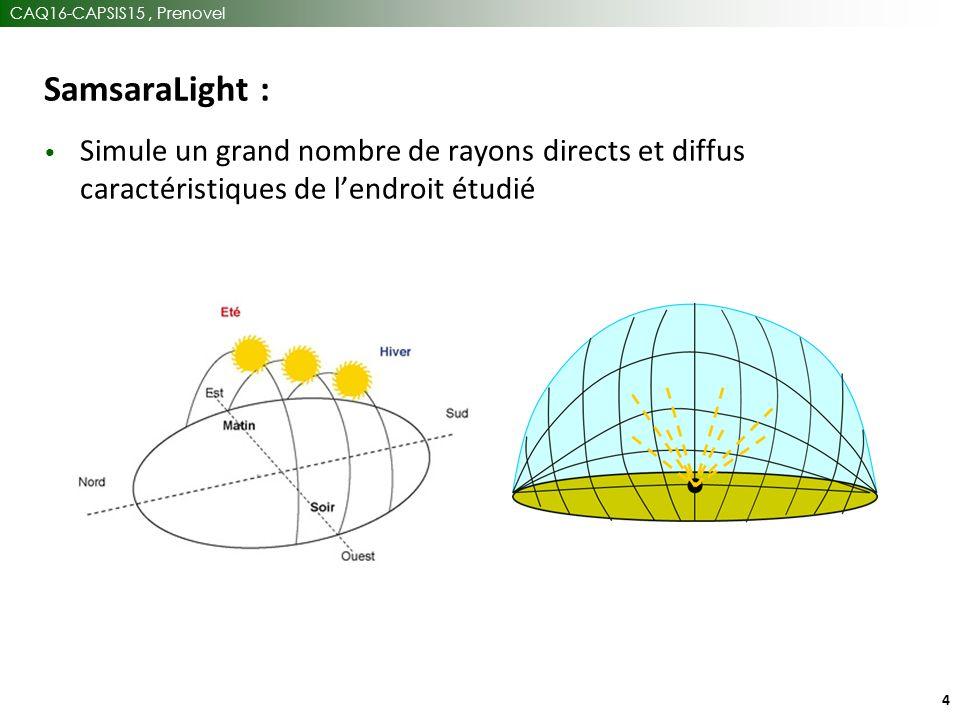 CAQ16-CAPSIS15, Prenovel 4 SamsaraLight : Simule un grand nombre de rayons directs et diffus caractéristiques de l'endroit étudié