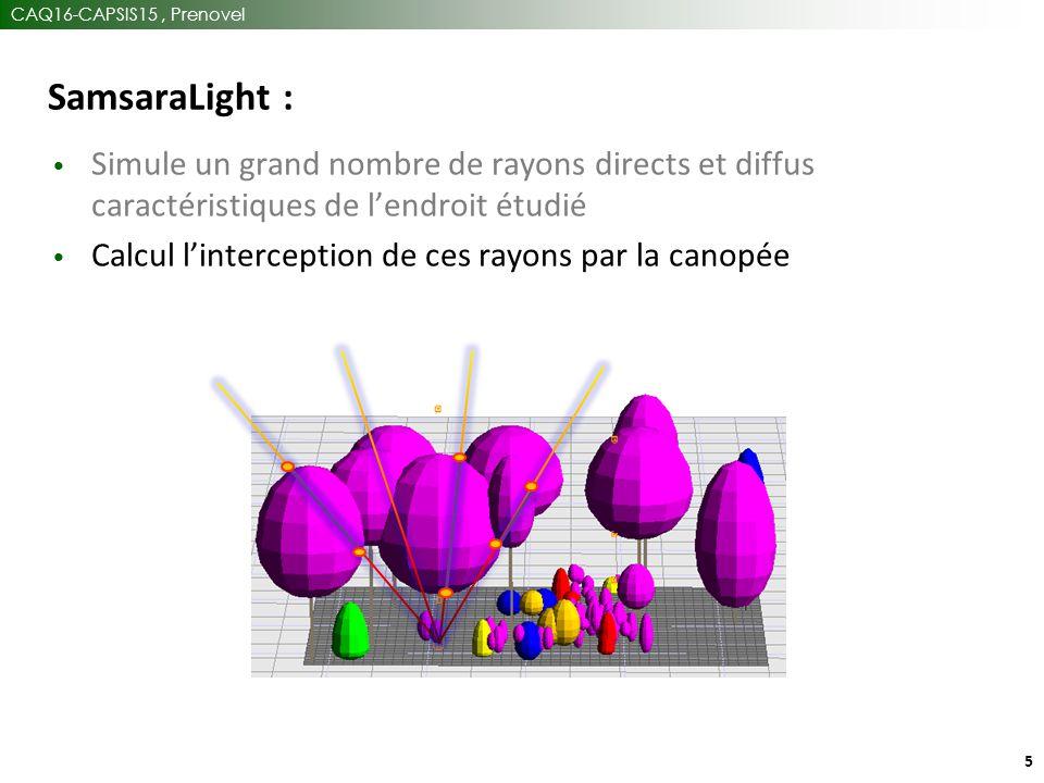CAQ16-CAPSIS15, Prenovel 5 SamsaraLight : Simule un grand nombre de rayons directs et diffus caractéristiques de l'endroit étudié Calcul l'interception de ces rayons par la canopée