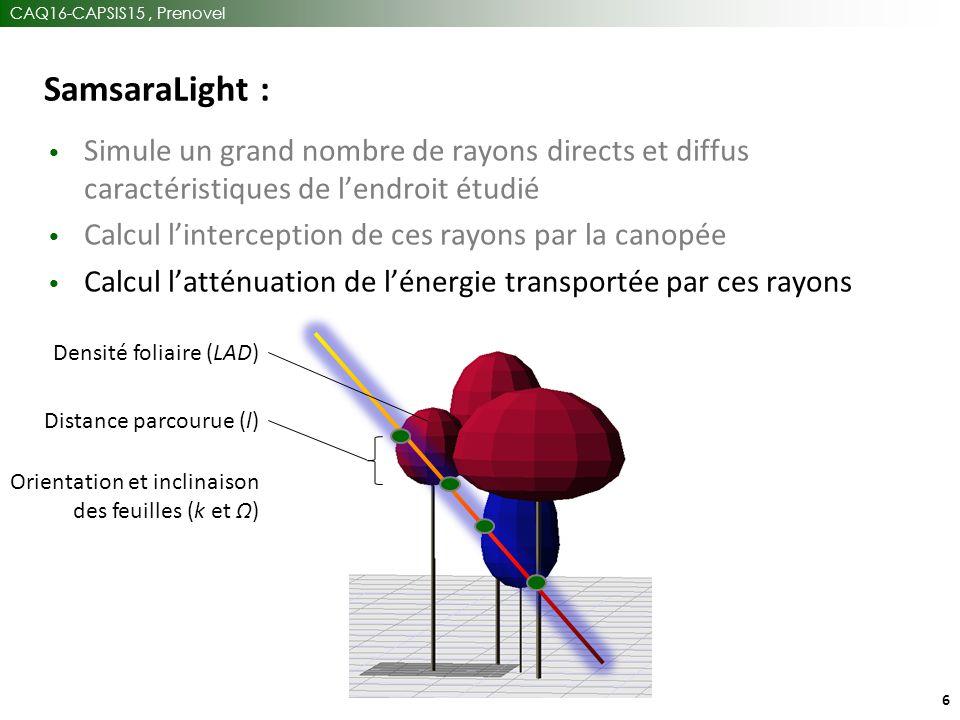 CAQ16-CAPSIS15, Prenovel 6 SamsaraLight : Simule un grand nombre de rayons directs et diffus caractéristiques de l'endroit étudié Calcul l'interception de ces rayons par la canopée Calcul l'atténuation de l'énergie transportée par ces rayons Densité foliaire (LAD) Distance parcourue (l) Orientation et inclinaison des feuilles (k et Ω)