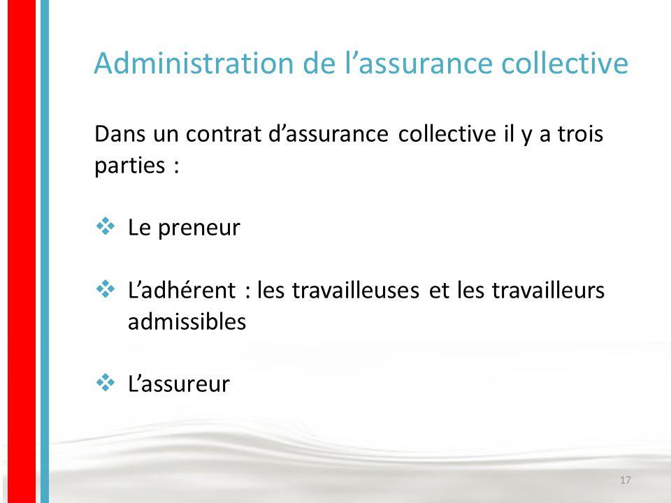 Administration de l'assurance collective Dans un contrat d'assurance collective il y a trois parties :  Le preneur  L'adhérent : les travailleuses et les travailleurs admissibles  L'assureur 17