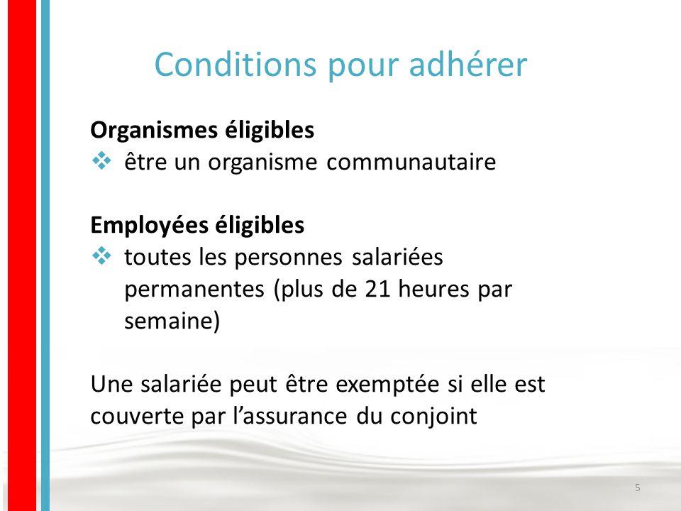 Conditions pour adhérer Organismes éligibles  être un organisme communautaire Employées éligibles  toutes les personnes salariées permanentes (plus de 21 heures par semaine) Une salariée peut être exemptée si elle est couverte par l'assurance du conjoint 5