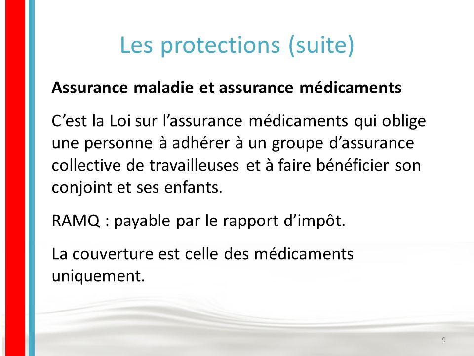 Les protections (suite) Assurance maladie et assurance médicaments C'est la Loi sur l'assurance médicaments qui oblige une personne à adhérer à un groupe d'assurance collective de travailleuses et à faire bénéficier son conjoint et ses enfants.