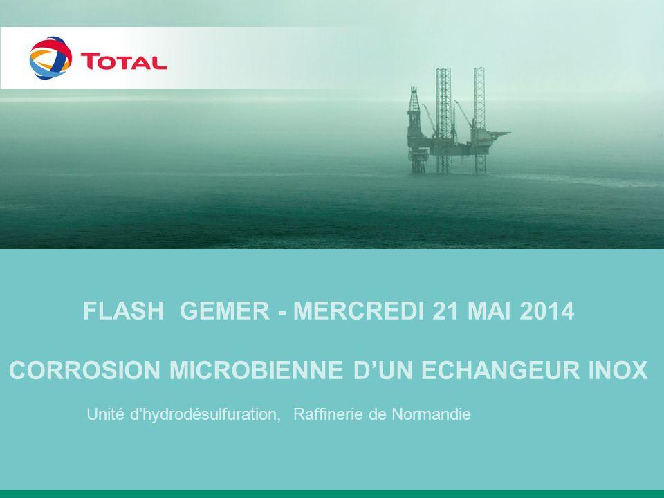 CONTEXTE Raffinerie de Normandie, pendant le grand arrêt de 2012 Echangeur de chaleur de sortie du réacteur de l'unité de désulfuration des gasoils 3 Echangeur en acier inoxydable 321(calendre, boite, faisceau tubulaire) Bien que l'échangeur ait été inspecté durant le grand arrêt (et rien d'anormal n' a été détecté), plusieurs fuites ont été détectées sur l'échangeur lors d'un test d'étanchéité à l'azote réalisé préalablement à la mise en circulation des fluides, 2 Côté calandre –Charge du stripper gazole Température : 90°C 2 bars < Pression < 4 bars Côté faisceau –Effluent du réacteur 365°C < Température < 385°C 50 bars < Pression < 58 bars CONDITIONS DE SERVICE Corrosion bactérienne d'un échangeur de chaleur en inox