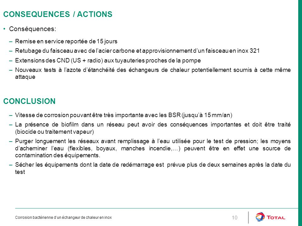 CONSEQUENCES / ACTIONS Conséquences: –Remise en service reportée de 15 jours –Retubage du faisceau avec de l'acier carbone et approvisionnement d'un f
