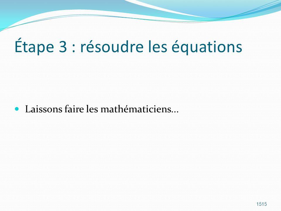 Étape 3 : résoudre les équations Laissons faire les mathématiciens... 1515