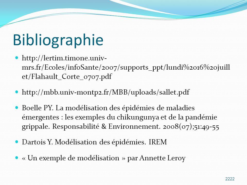 Bibliographie http://lertim.timone.univ- mrs.fr/Ecoles/infoSante/2007/supports_ppt/lundi%2016%20juill et/Flahault_Corte_0707.pdf http://mbb.univ-montp