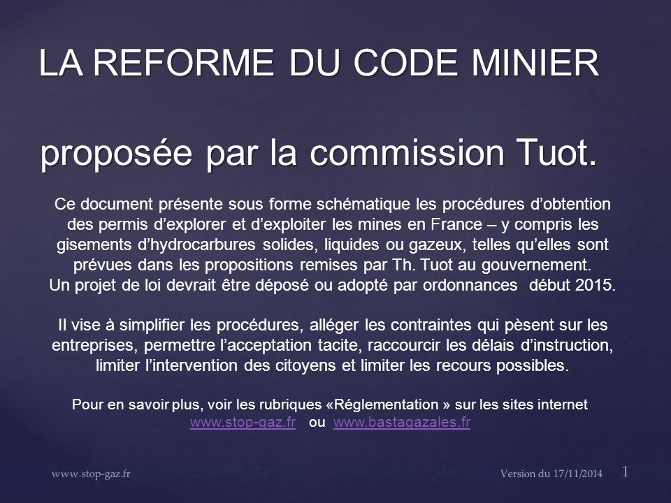 LA REFORME DU CODE MINIER proposée par la commission Tuot.