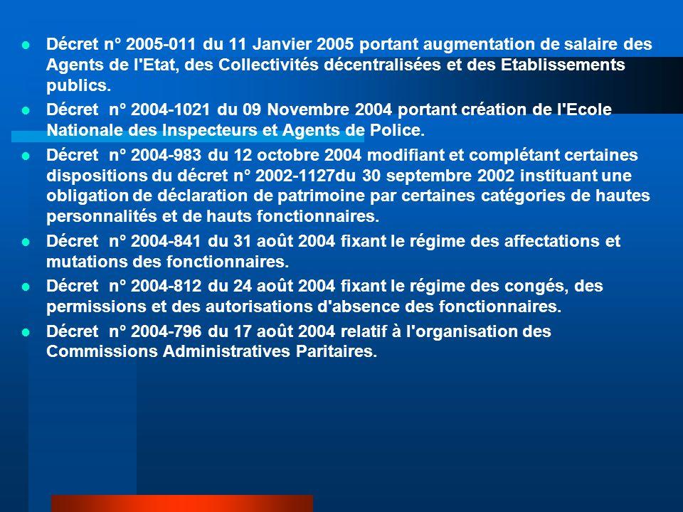 Décret n° 2005-011 du 11 Janvier 2005 portant augmentation de salaire des Agents de l Etat, des Collectivités décentralisées et des Etablissements publics.