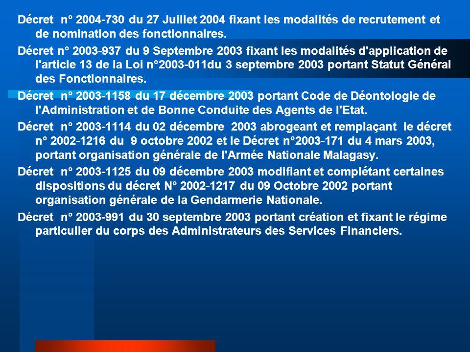 Décret n° 2004-730 du 27 Juillet 2004 fixant les modalités de recrutement et de nomination des fonctionnaires. Décret n° 2003-937 du 9 Septembre 2003