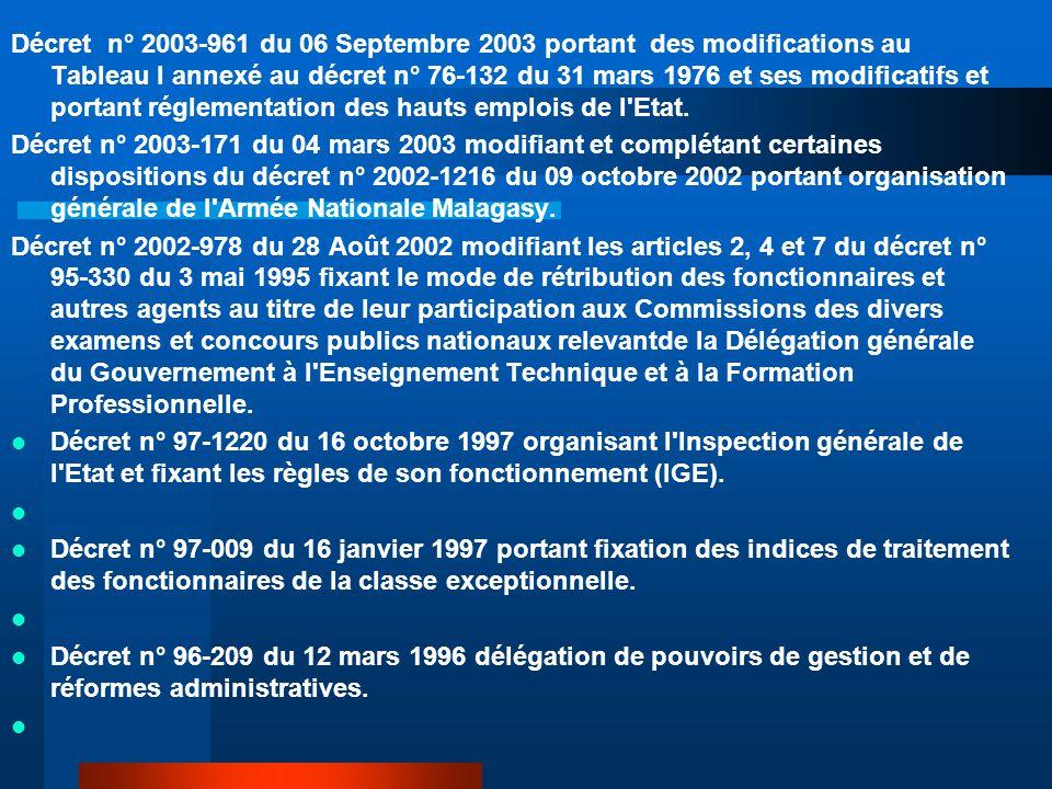 Décret n° 2003-961 du 06 Septembre 2003 portant des modifications au Tableau I annexé au décret n° 76-132 du 31 mars 1976 et ses modificatifs et portant réglementation des hauts emplois de l Etat.