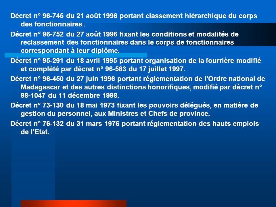 Décret n° 96-745 du 21 août 1996 portant classement hiérarchique du corps des fonctionnaires. Décret n° 96-752 du 27 août 1996 fixant les conditions e