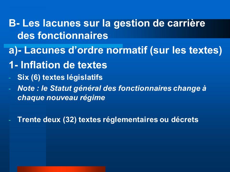 B- Les lacunes sur la gestion de carrière des fonctionnaires a)- Lacunes d'ordre normatif (sur les textes) 1- Inflation de textes - Six (6) textes lég