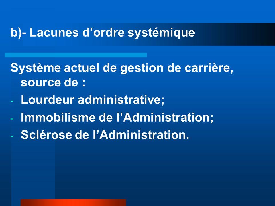 b)- Lacunes d'ordre systémique Système actuel de gestion de carrière, source de : - Lourdeur administrative; - Immobilisme de l'Administration; - Sclérose de l'Administration.