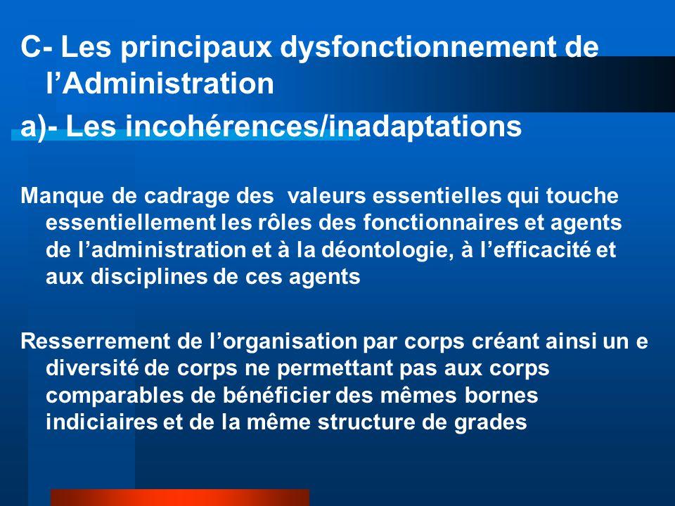 C- Les principaux dysfonctionnement de l'Administration a)- Les incohérences/inadaptations Manque de cadrage des valeurs essentielles qui touche essen