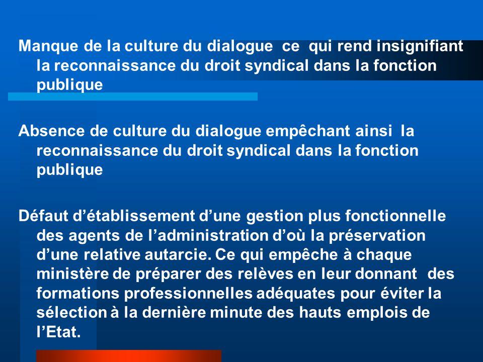 Manque de la culture du dialogue ce qui rend insignifiant la reconnaissance du droit syndical dans la fonction publique Absence de culture du dialogue