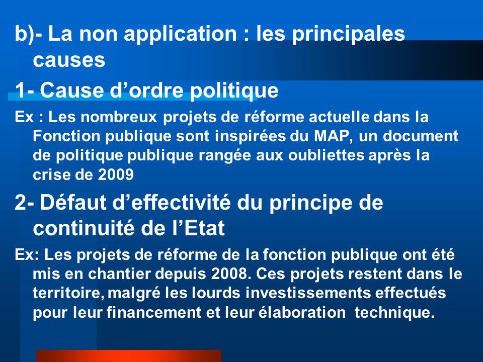 b)- La non application : les principales causes 1- Cause d'ordre politique Ex : Les nombreux projets de réforme actuelle dans la Fonction publique son