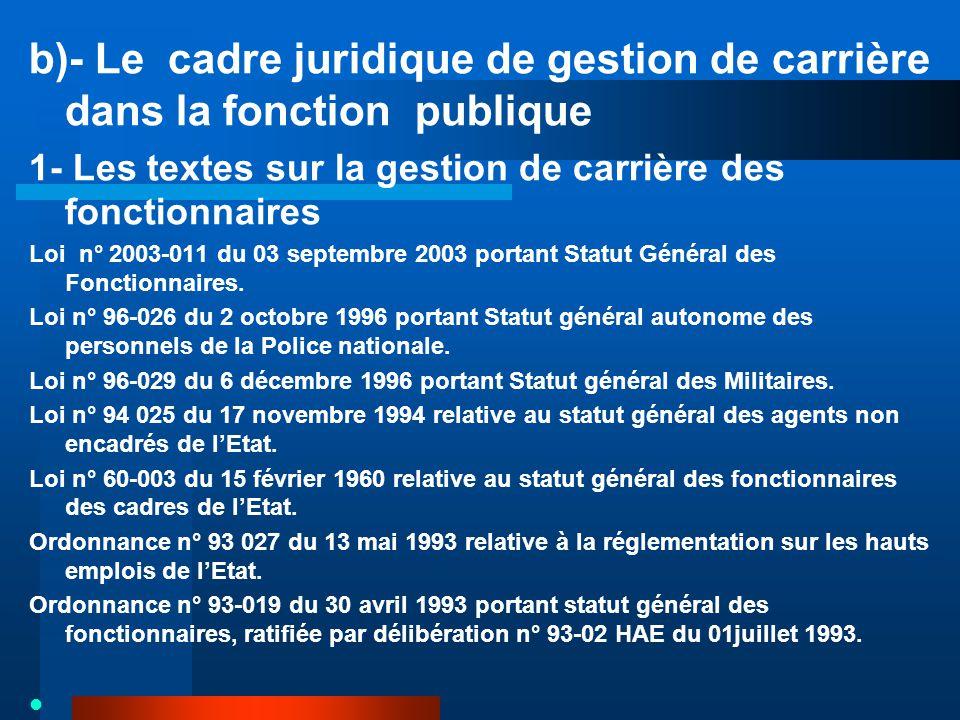 b)- Le cadre juridique de gestion de carrière dans la fonction publique 1- Les textes sur la gestion de carrière des fonctionnaires Loi n° 2003-011 du 03 septembre 2003 portant Statut Général des Fonctionnaires.