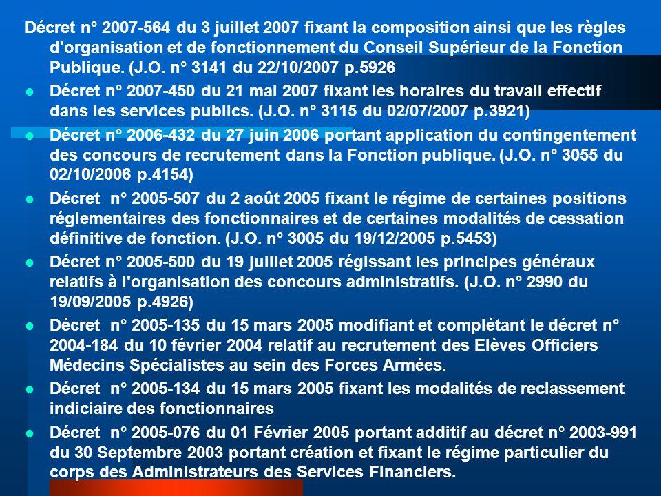 Décret n° 2007-564 du 3 juillet 2007 fixant la composition ainsi que les règles d organisation et de fonctionnement du Conseil Supérieur de la Fonction Publique.