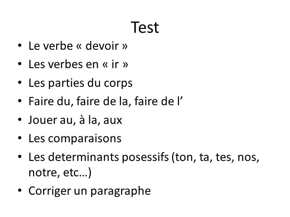 Test Le verbe « devoir » Les verbes en « ir » Les parties du corps Faire du, faire de la, faire de l' Jouer au, à la, aux Les comparaisons Les determi