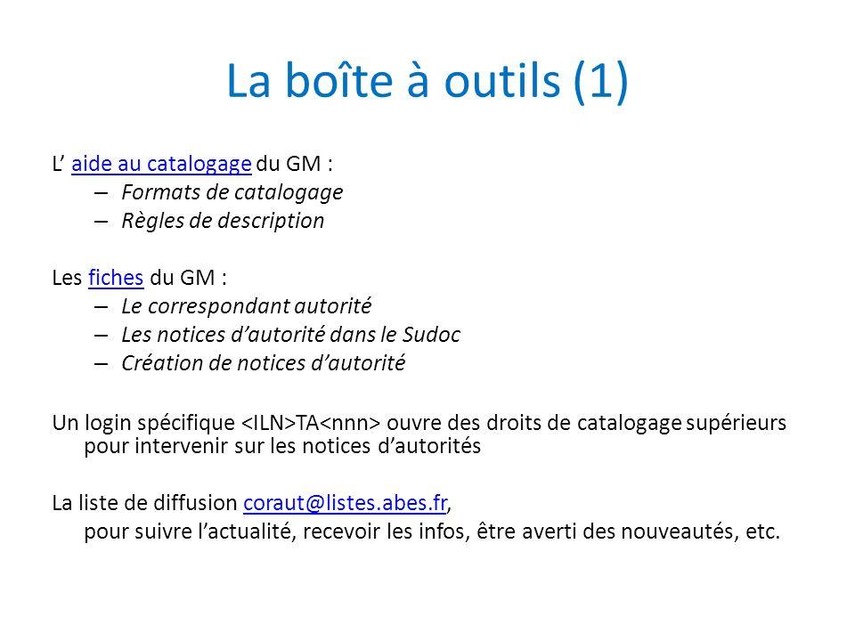 La boîte à outils (1) L' aide au catalogage du GM :aide au catalogage – Formats de catalogage – Règles de description Les fiches du GM :fiches – Le co