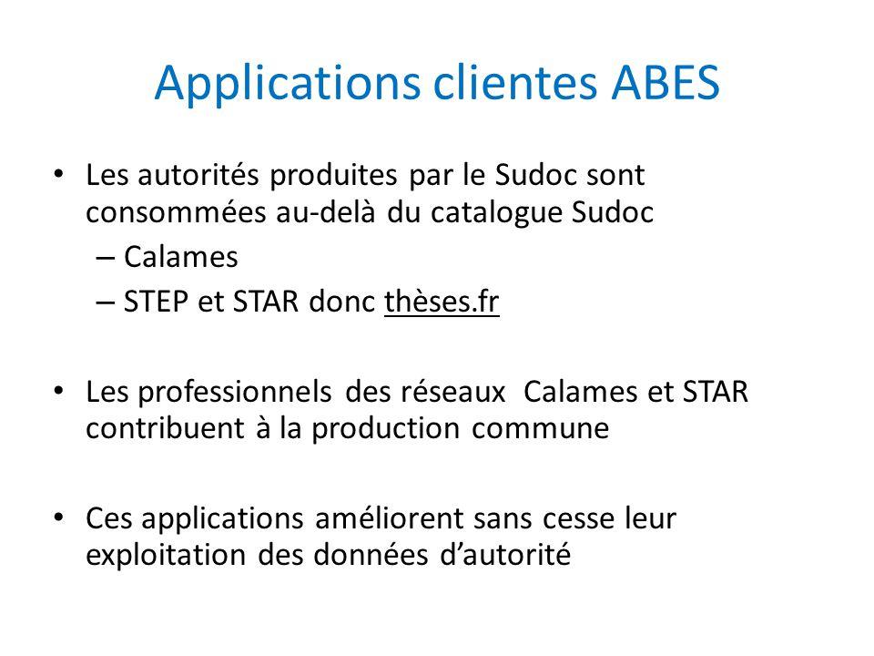 Applications clientes ABES Les autorités produites par le Sudoc sont consommées au-delà du catalogue Sudoc – Calames – STEP et STAR donc thèses.fr Les