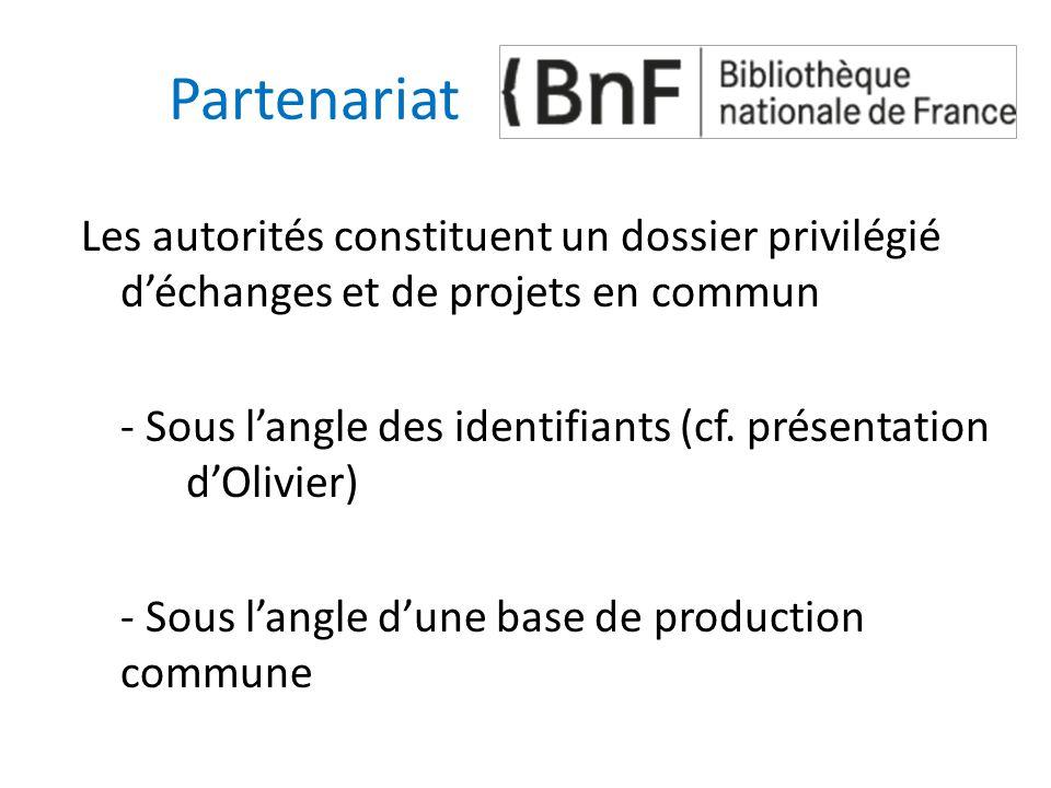 Partenariat Les autorités constituent un dossier privilégié d'échanges et de projets en commun - Sous l'angle des identifiants (cf. présentation d'Oli