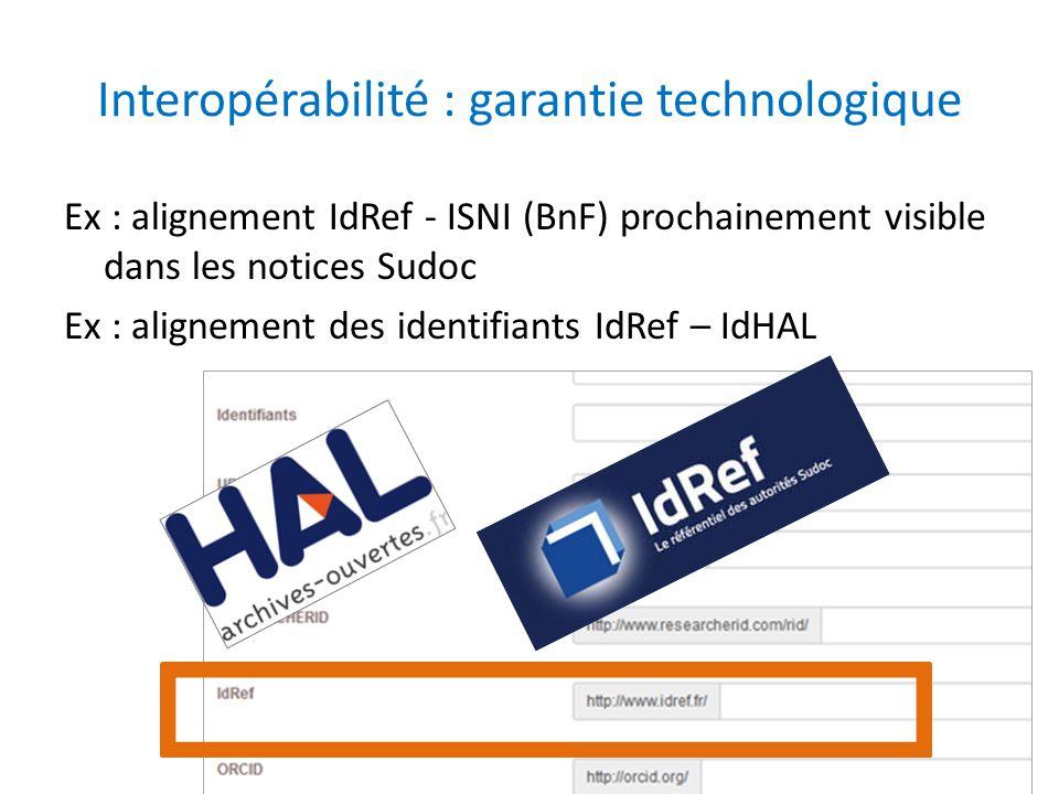 Interopérabilité : garantie technologique Ex : alignement IdRef - ISNI (BnF) prochainement visible dans les notices Sudoc Ex : alignement des identifi