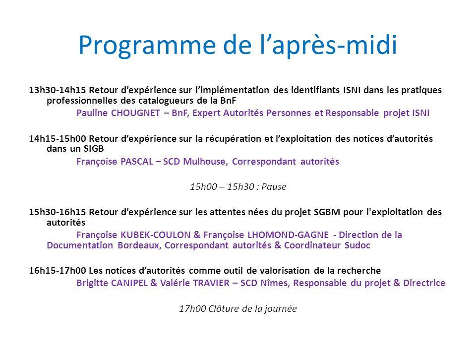 Programme de l'après-midi 13h30-14h15 Retour d'expérience sur l'implémentation des identifiants ISNI dans les pratiques professionnelles des catalogue