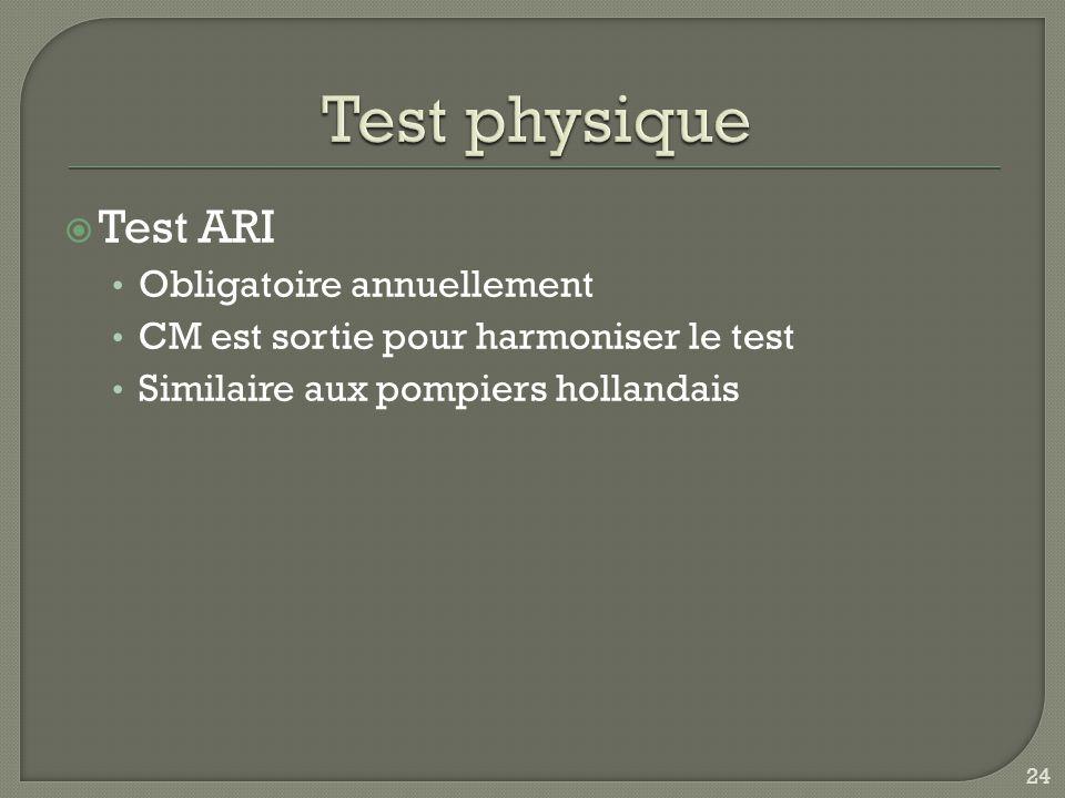  Test ARI Obligatoire annuellement CM est sortie pour harmoniser le test Similaire aux pompiers hollandais 24