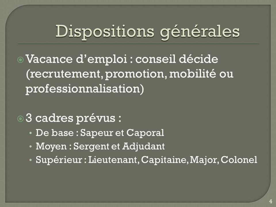  Vacance d'emploi : conseil décide (recrutement, promotion, mobilité ou professionnalisation)  3 cadres prévus : De base : Sapeur et Caporal Moyen : Sergent et Adjudant Supérieur : Lieutenant, Capitaine, Major, Colonel 4