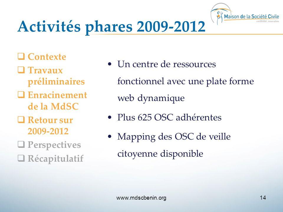 Activités phares 2009-2012  Contexte  Travaux préliminaires  Enracinement de la MdSC  Retour sur 2009-2012  Perspectives  Récapitulatif Un centr