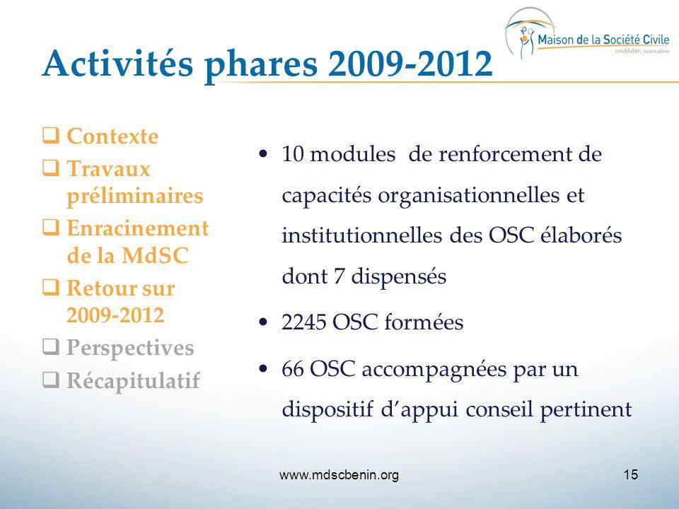 Activités phares 2009-2012  Contexte  Travaux préliminaires  Enracinement de la MdSC  Retour sur 2009-2012  Perspectives  Récapitulatif 10 modul
