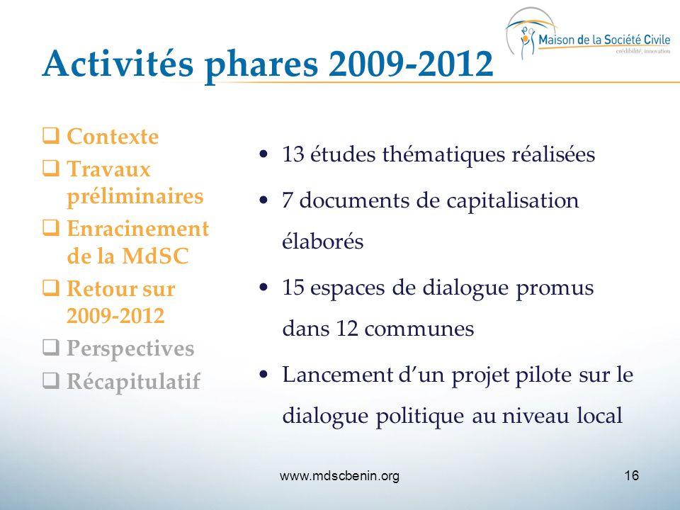 Activités phares 2009-2012  Contexte  Travaux préliminaires  Enracinement de la MdSC  Retour sur 2009-2012  Perspectives  Récapitulatif 13 étude