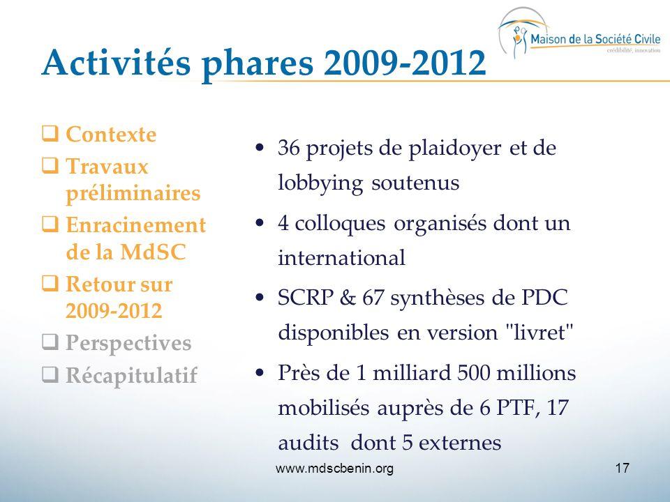Activités phares 2009-2012  Contexte  Travaux préliminaires  Enracinement de la MdSC  Retour sur 2009-2012  Perspectives  Récapitulatif 36 proje